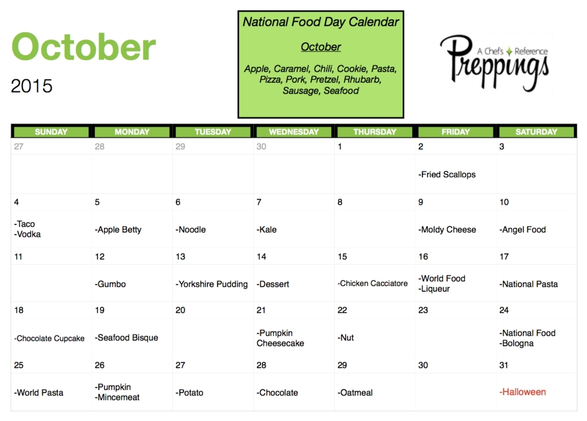 National Food Days- October 2015 – Preppings Food Days Of The Year  Food Days Of The Year Calendar