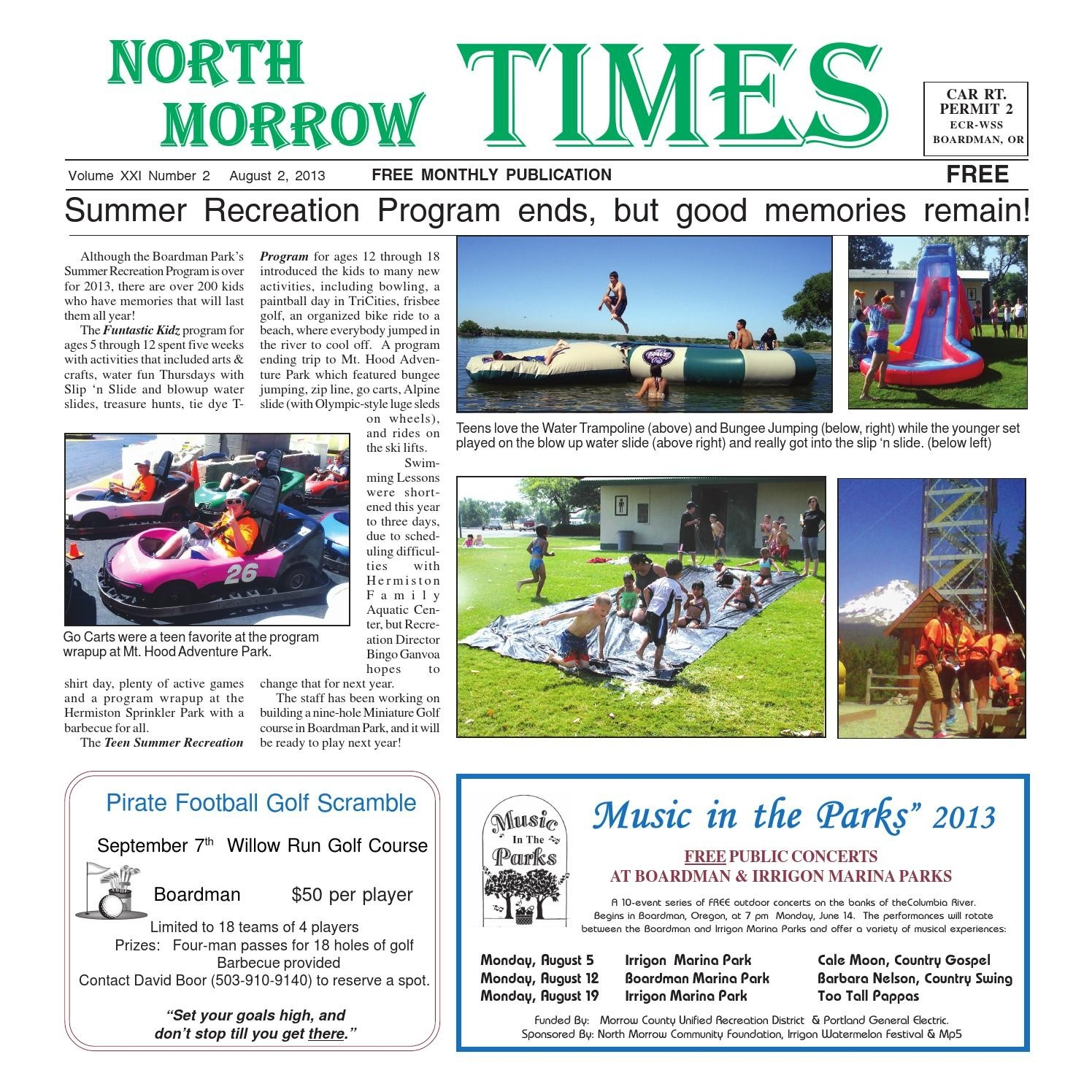 Nmt August 2013North Morrow Times - Issuu  Free Monthly Calendar Erin Huff
