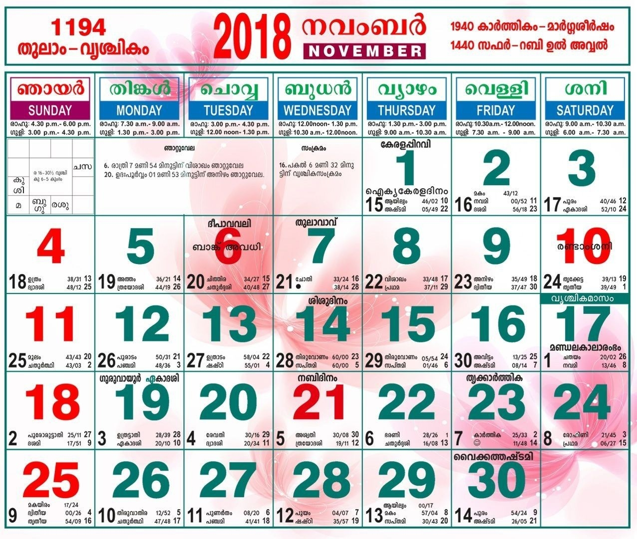 November 2018 Calendar Malayalam | November Calendar | November  Malayalam Calender Of This Month