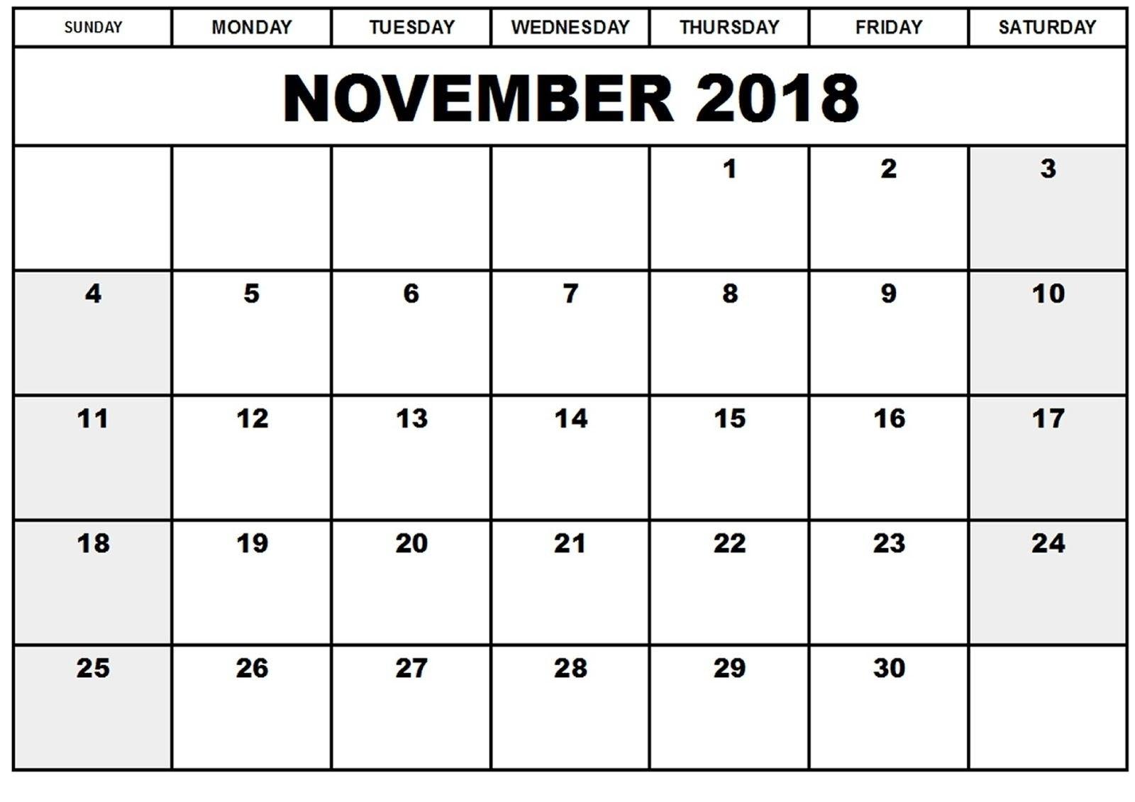 November 2018 Full Page Printable | Template Calendar Printable  Printable Calendar Templates Full Page