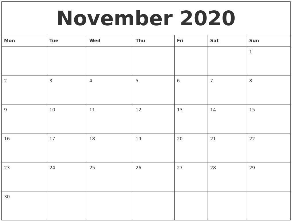 November 2020 Free Printable Monthly Calendar  Month To Month Calendar Printable