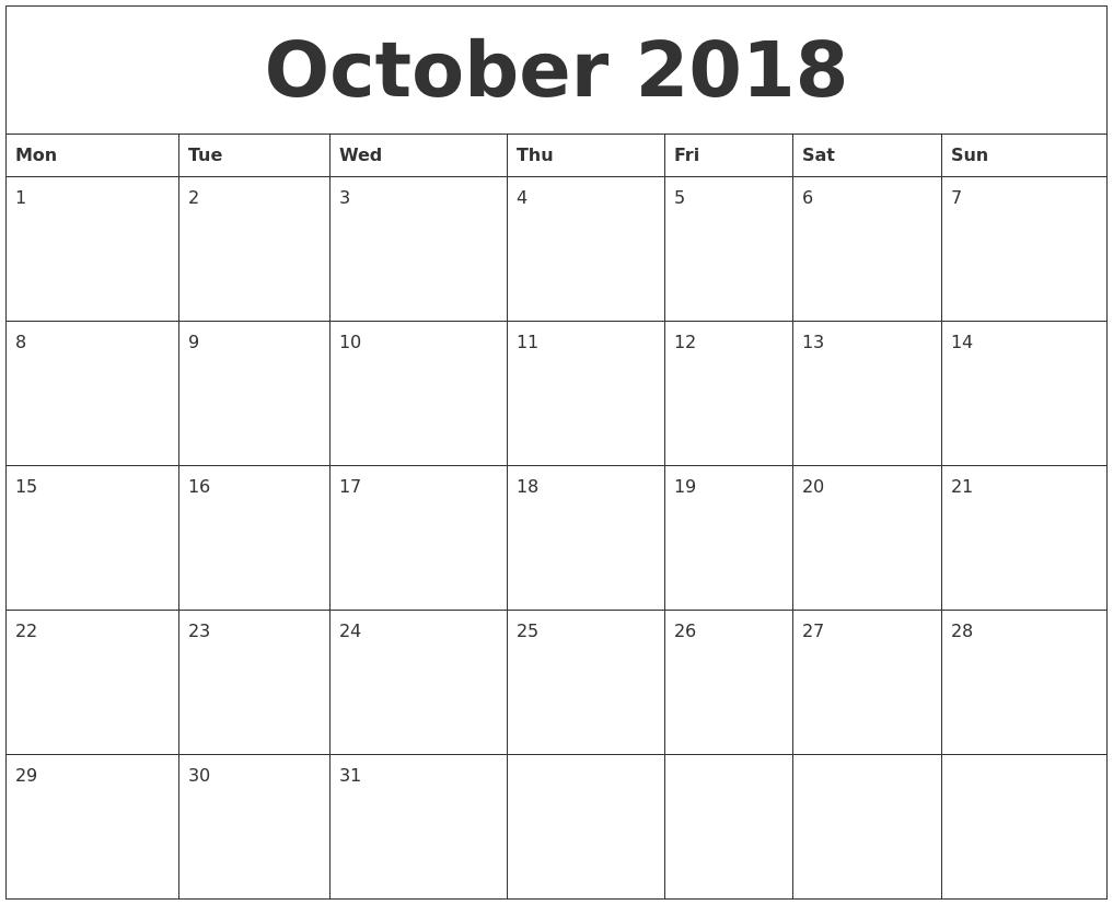 October 2018 Free Printable Calendar Templates  Free Printable Calendar Templates Month