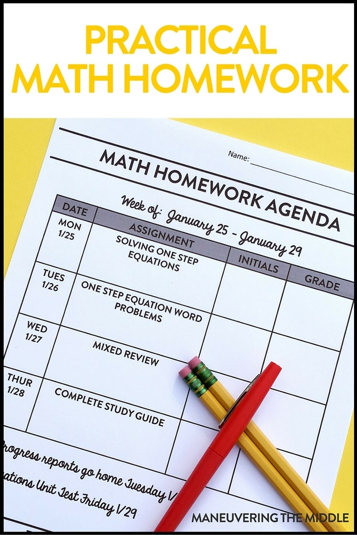 Practical Math Homework - Maneuvering The Middle  Homework Agenda Template 7Th Grade