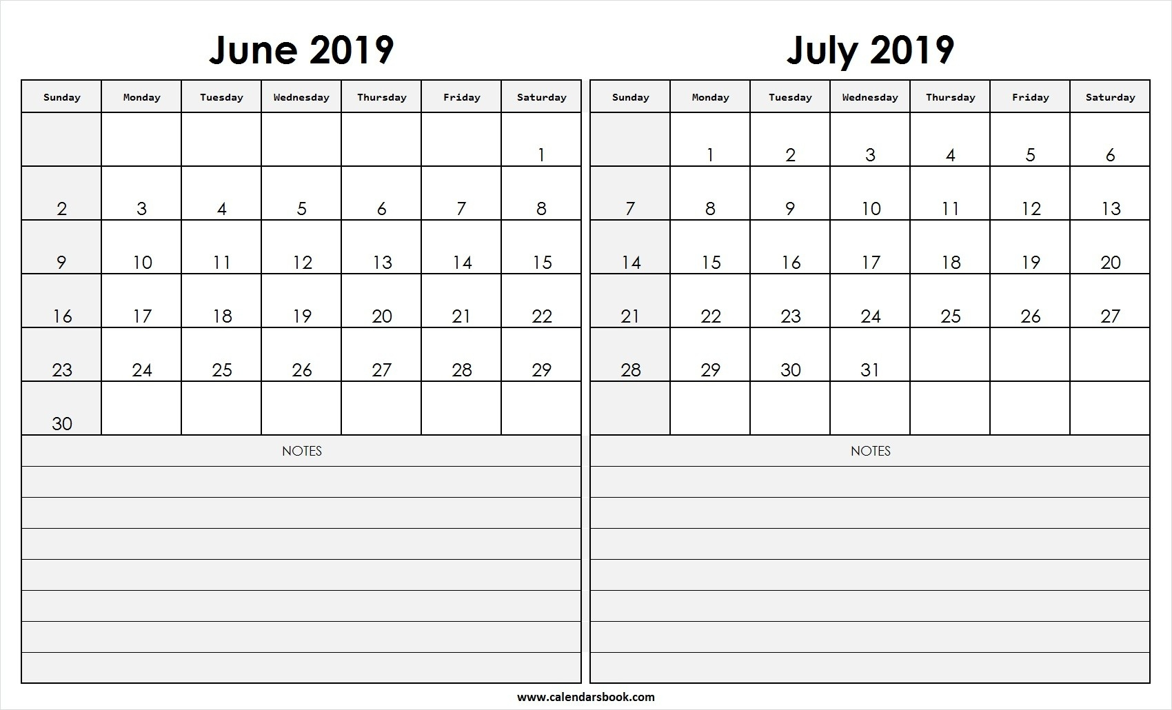 Print June July 2019 Calendar Template | 2 Month Calendar  Calendar For June July