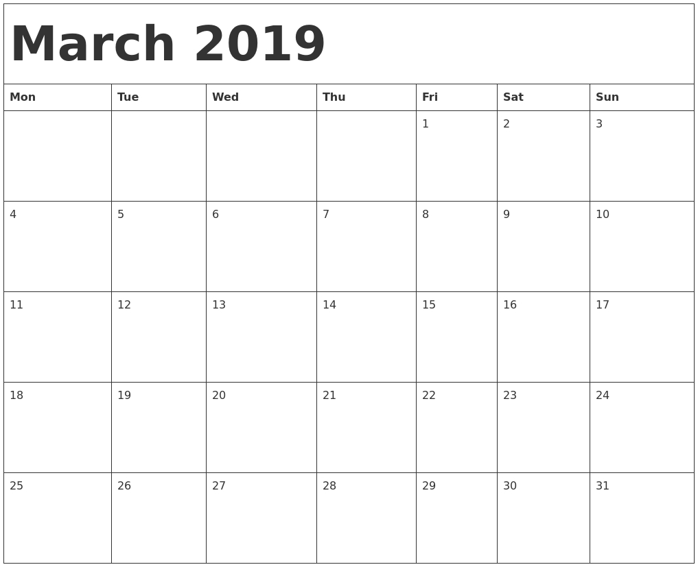 Printable 2019 Calendarmonth With Holidays | Printable Calendar 2019  Free Printable Calendar Templates Month