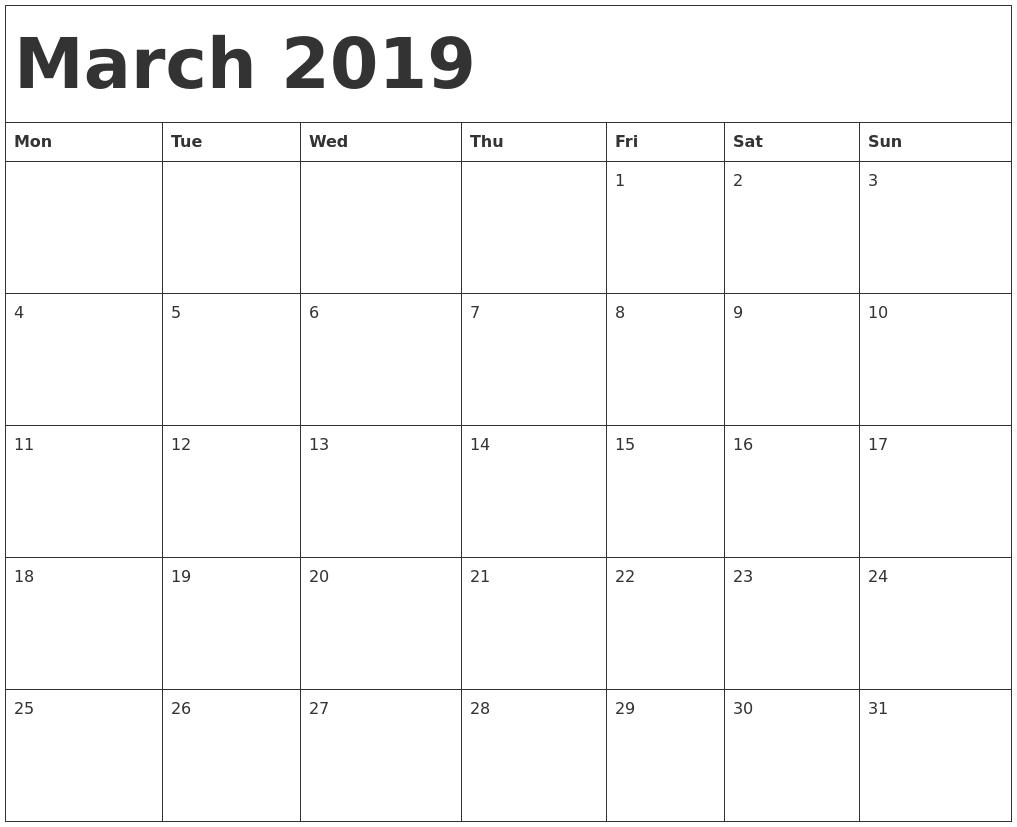 Printable 2019 Calendarmonth With Holidays   Printable Calendar 2019  Free Printable Calendar Templates Month