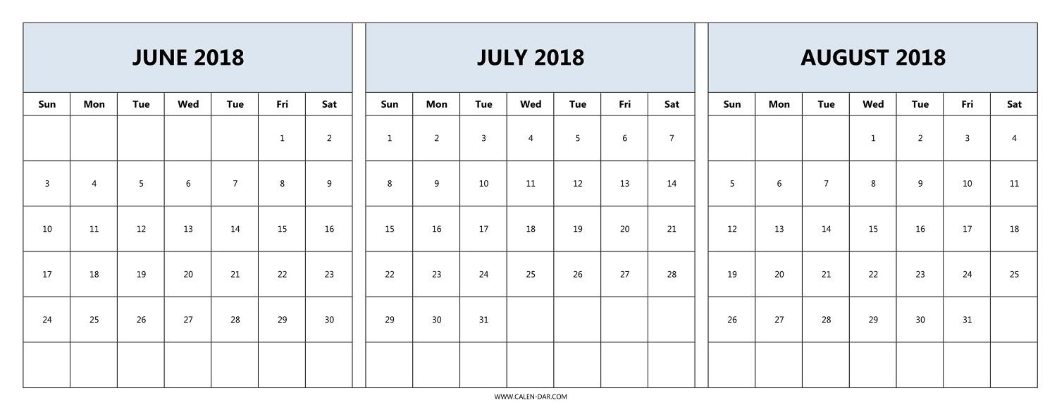 Printable 3 Month Calendar 2018 June July August | Printable  3 Month Printable Calendar Online August