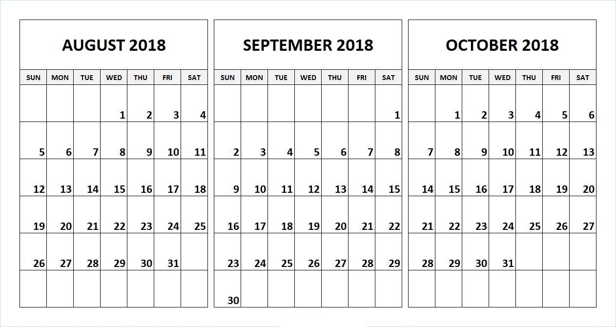 Printable 3 Month Calendar July August September 2018 | Printable  3 Month Printable Calendar Online August