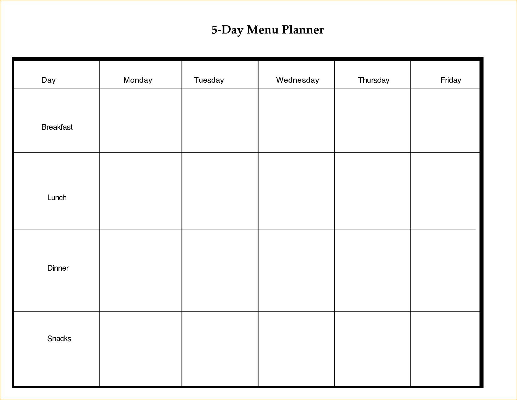 Printable 5 Day Calendar Blank Calendar Template 5 Day Week 0 8 With  Free Printable Blank Weekly Calendars