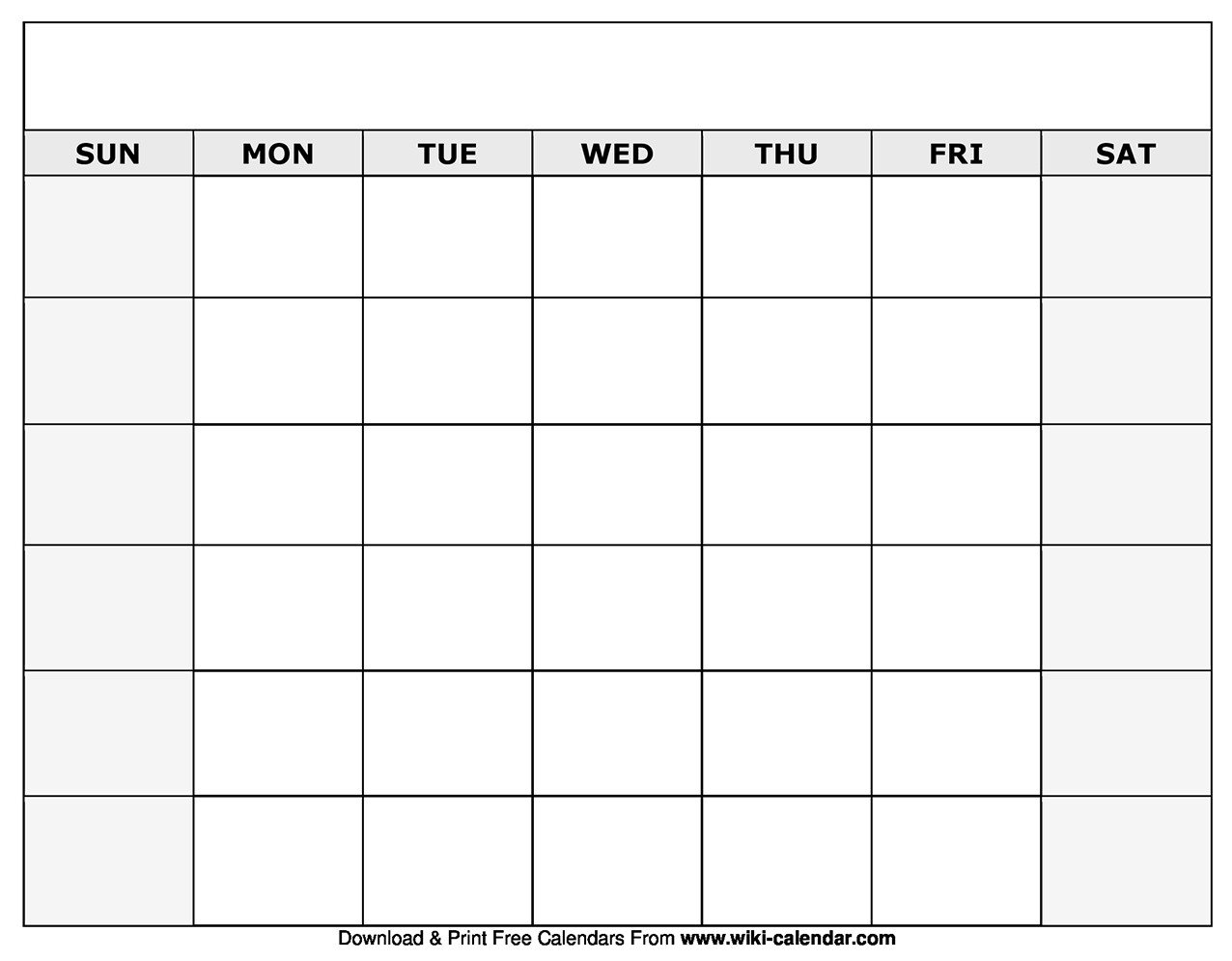 Printable Blank Calendar Templates  Blank Monthly Calendars To Print