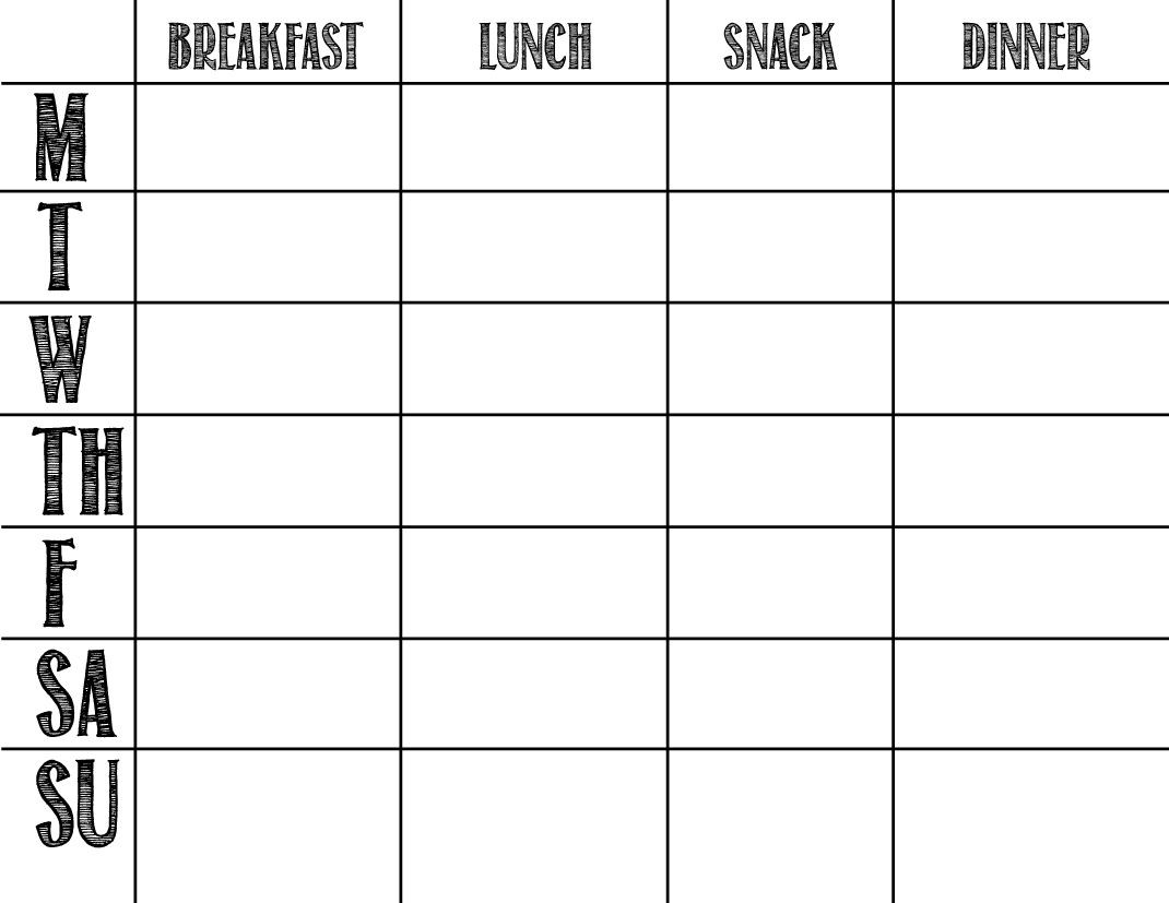 Printable Blank Chart Templates 08 | Meal Prep Planner Templates In  Calendar Weekly Menu Print Outs