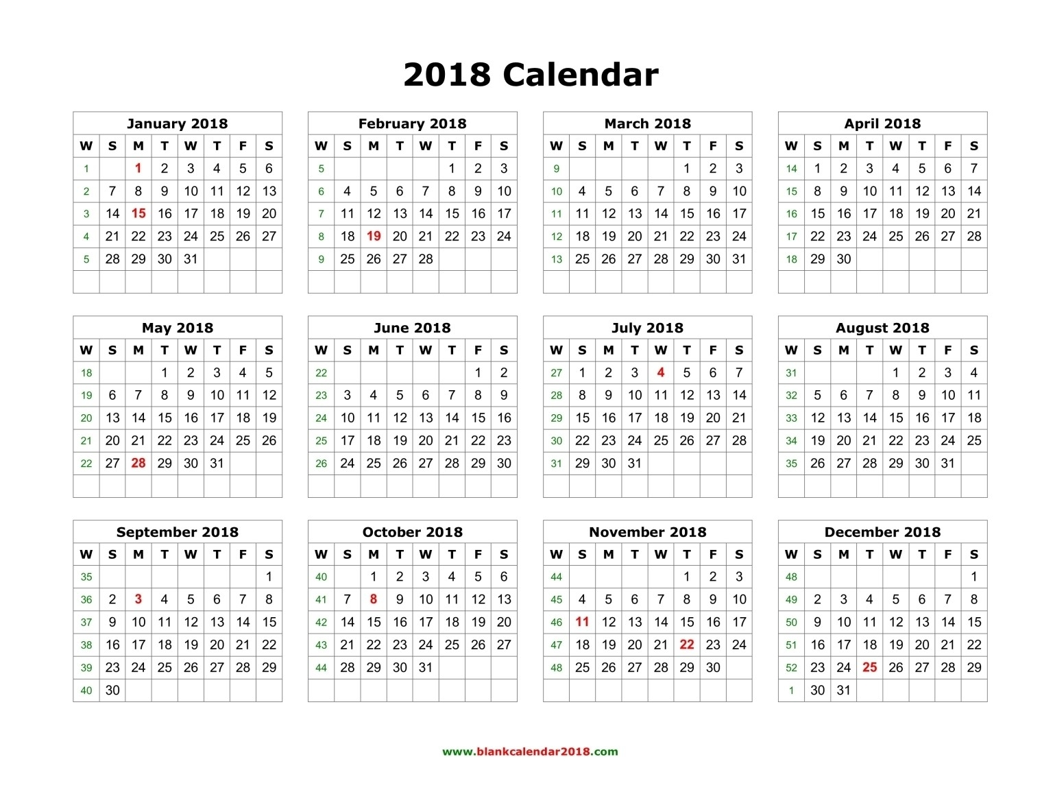 Printable Calendar 2018 Year View | Printable Calendar 2019  Year At A View Calendar
