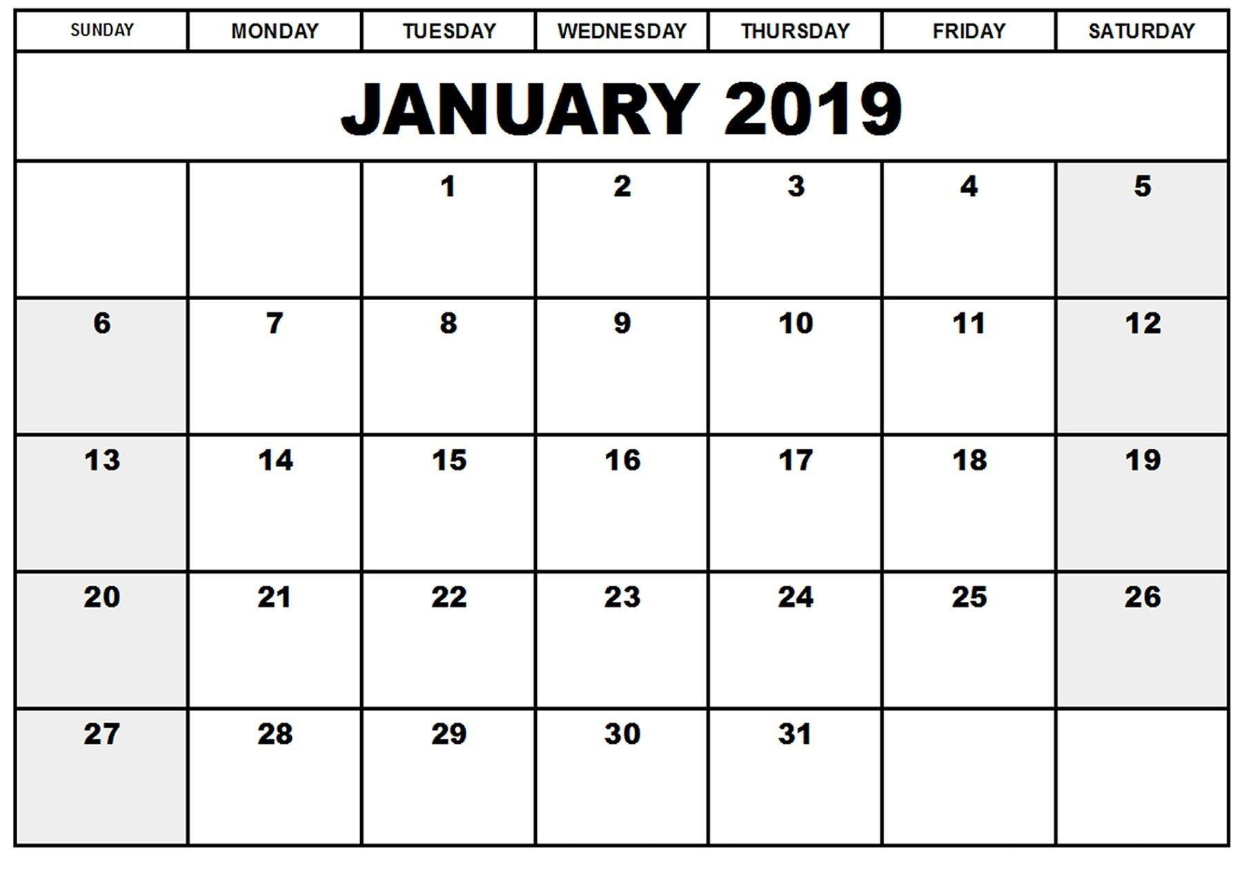 Printable Calendar January 2019 | Blank January 2019 Calendar  Free Printable 12 Month Blank Calendar
