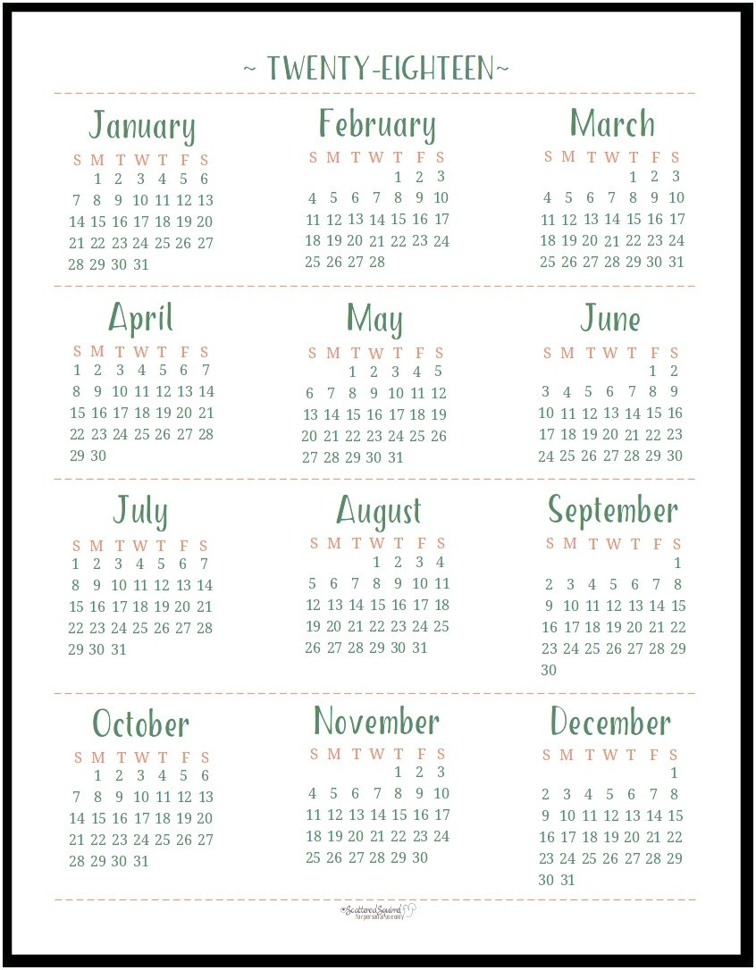 Printable Calendar Year At A Glance 2018 | Printable Calendar 2019  Year At A Glance Calendars Printable