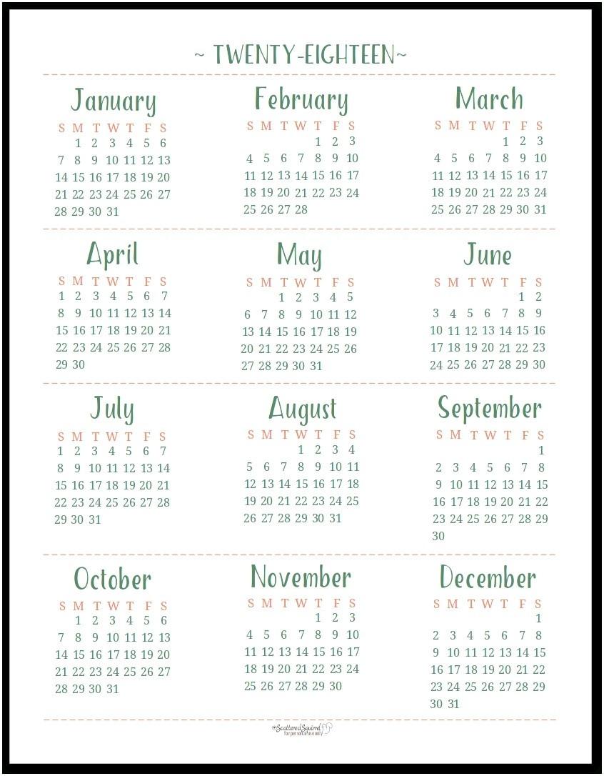 Printable Calendar Year At A Glance 2018 | Printable Calendar 2019  Year At A Glance Calendars Printable