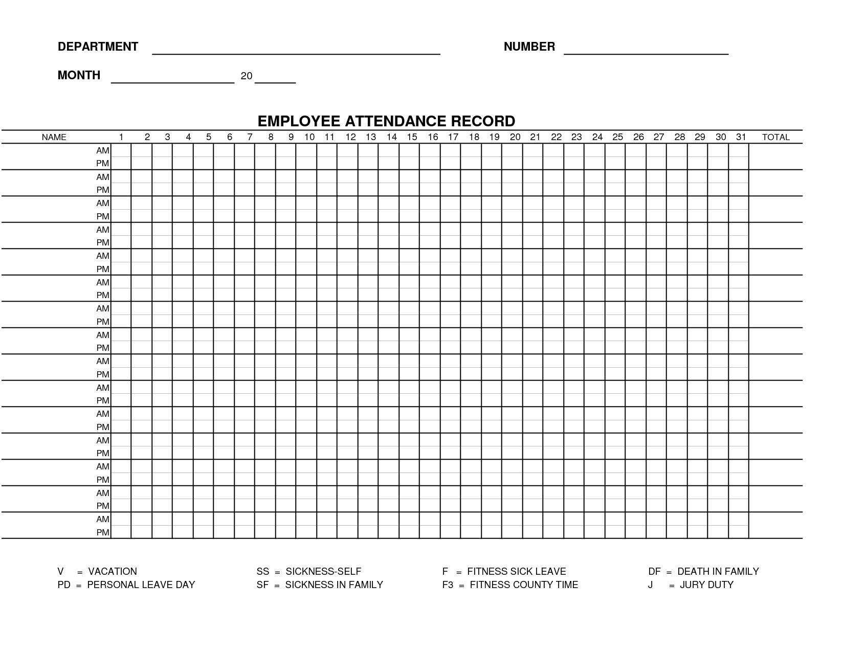 Printable Employee Attendance Sheet Template | Form 15 - Employee  Blank Employee Attendance Calendar Monthly