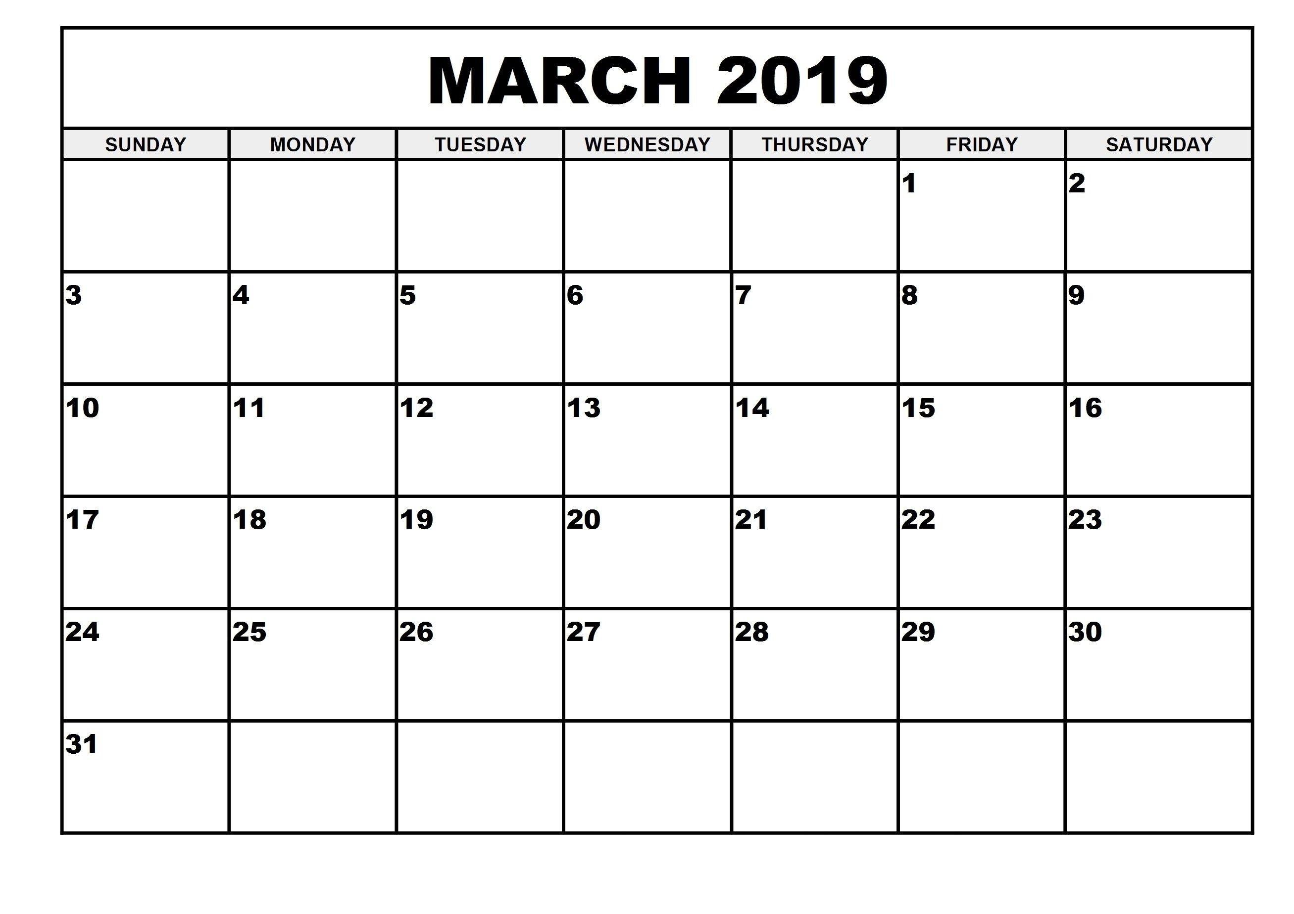 Printable March 2019 Calendar A4 Sheet | Printable March 2019  Calendar Blank Printable Monday Start A4