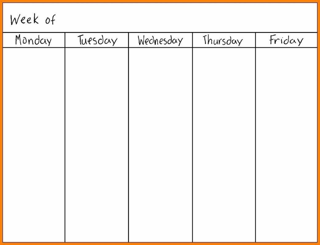 Printable Monday Through Friday Calendar | Blank Calendar Template  Monday Through Friday Calendar Template