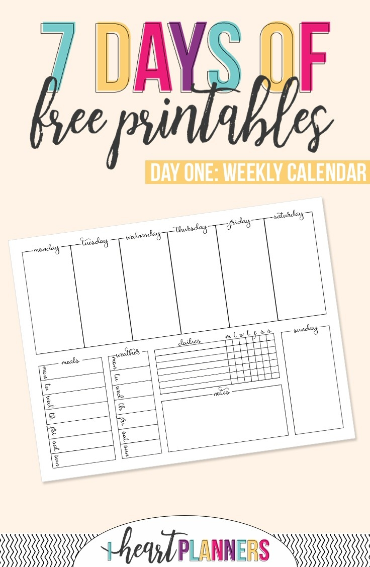 Printable Weekly Calendar - I Heart Planners  Printable Calendar Day By Day