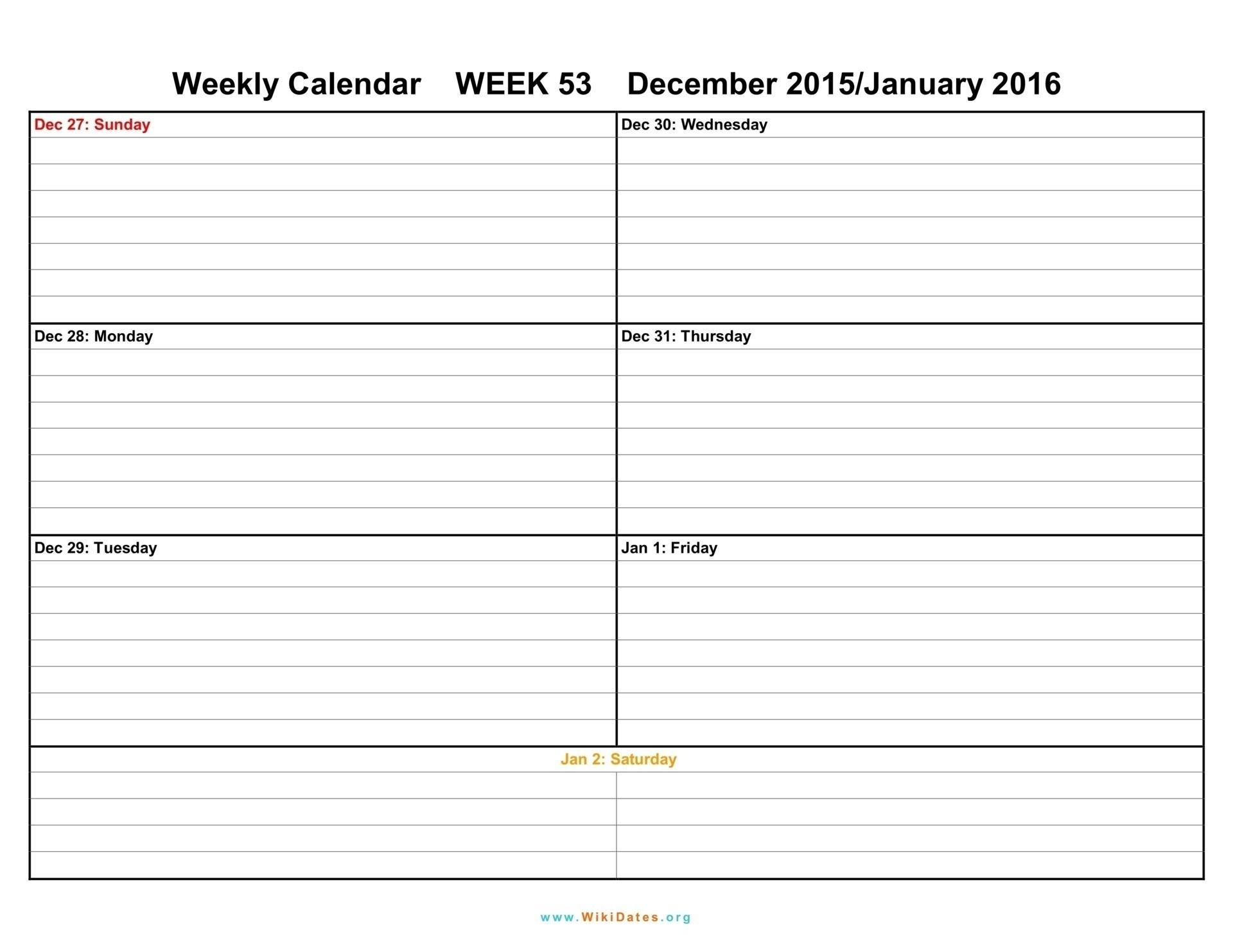 Printable Weekly Calendar Two Week Template Weeks Blank December  Free Blank Printable Weekly Calendar Template