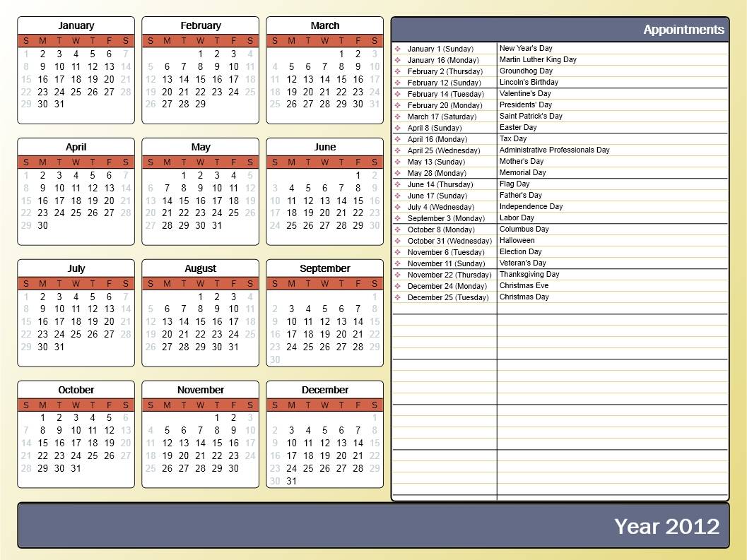 Printing A Yearly Calendar With Holidays And Birthdays - Howto-Outlook  Outlook Calendar Template 5 Week