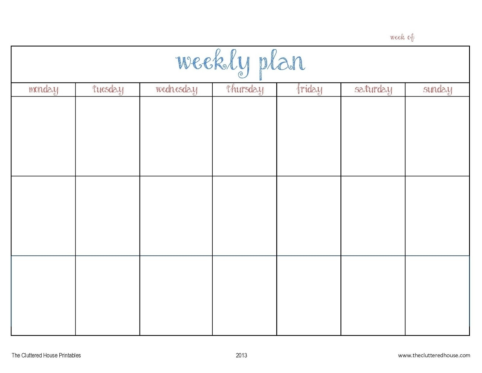 Pweakley Planner Mon To Sunday | Template Calendar Printable  Pweakley Planner Mon To Sunday