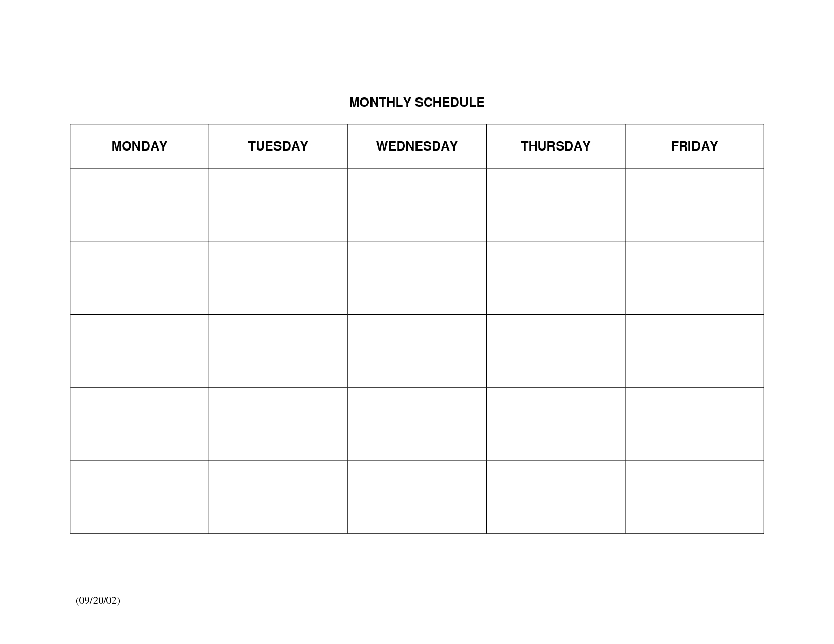 Schedule Template Monthly Calendar Printable Large Blank Weekly Free  Printable Monthly Calendar With Lines Large