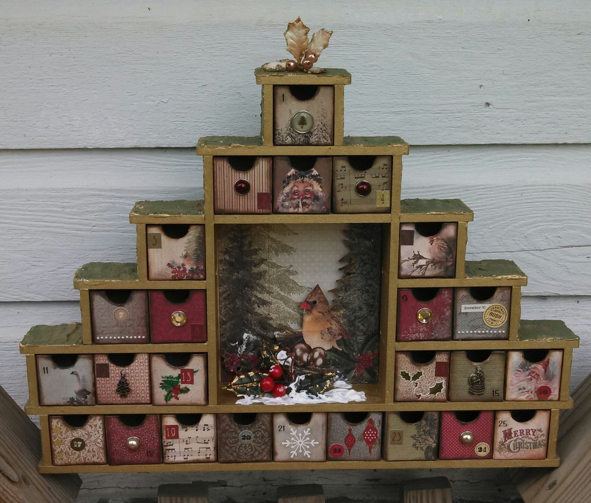 Shadowbox Advent Calendar  Wooden Shadow Box Advent Calendar