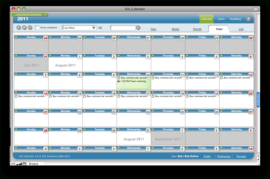 Sui Calendar 2.0 Online Help - Calendar Year View  Year At A View Calendar