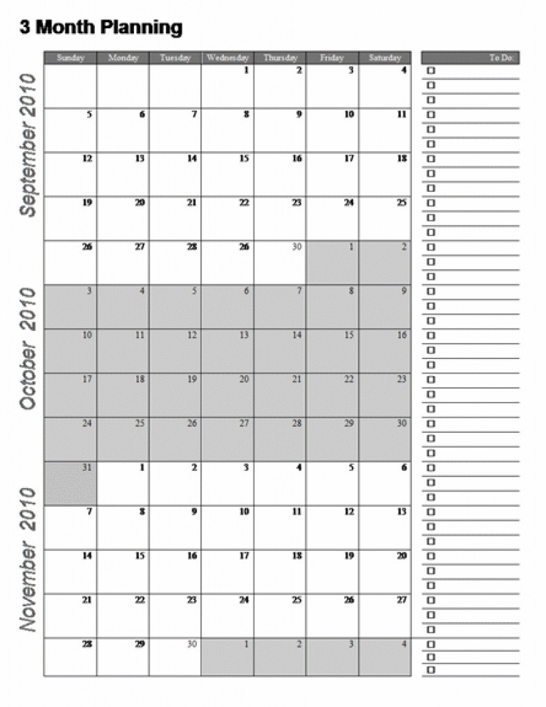 Three Month Calendar Template Great Printable Calendars Gallery  3 Month Calendar Free Printable