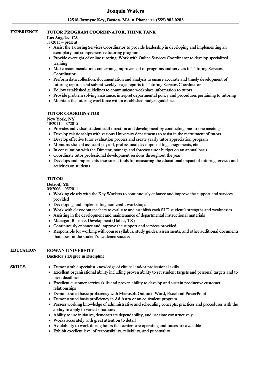 Tutor Resume Samples | Velvet Jobs  Tutor Session Payment Plan Contract