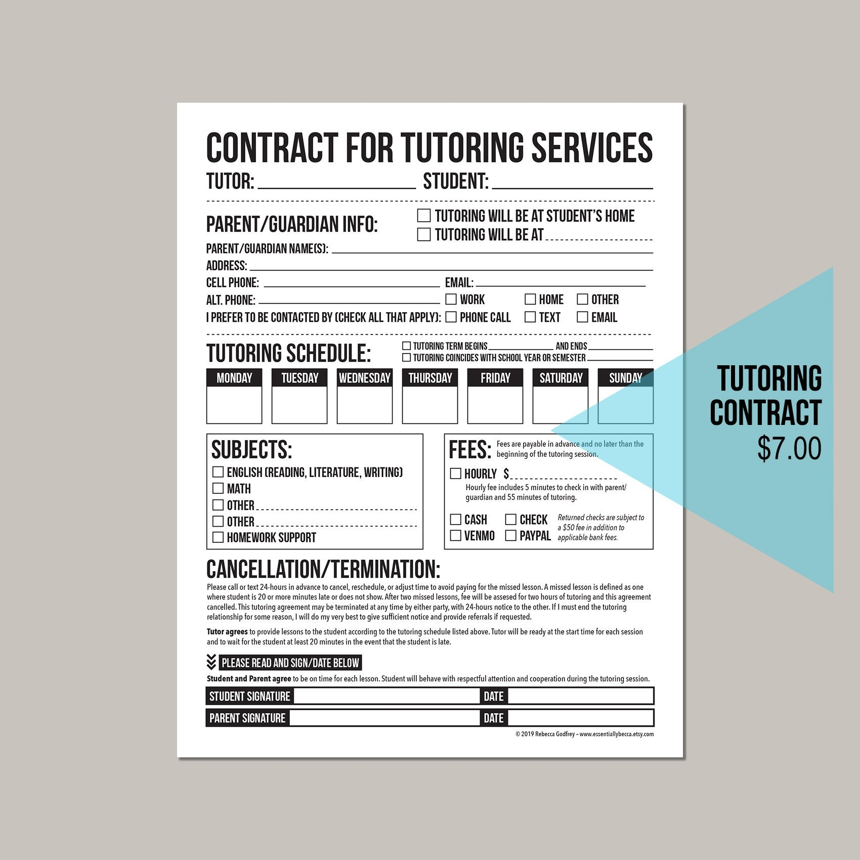 Tutoring Agreement Worksheet: Printable Pdf Form | Etsy  Tutor Session Payment Plan Contract