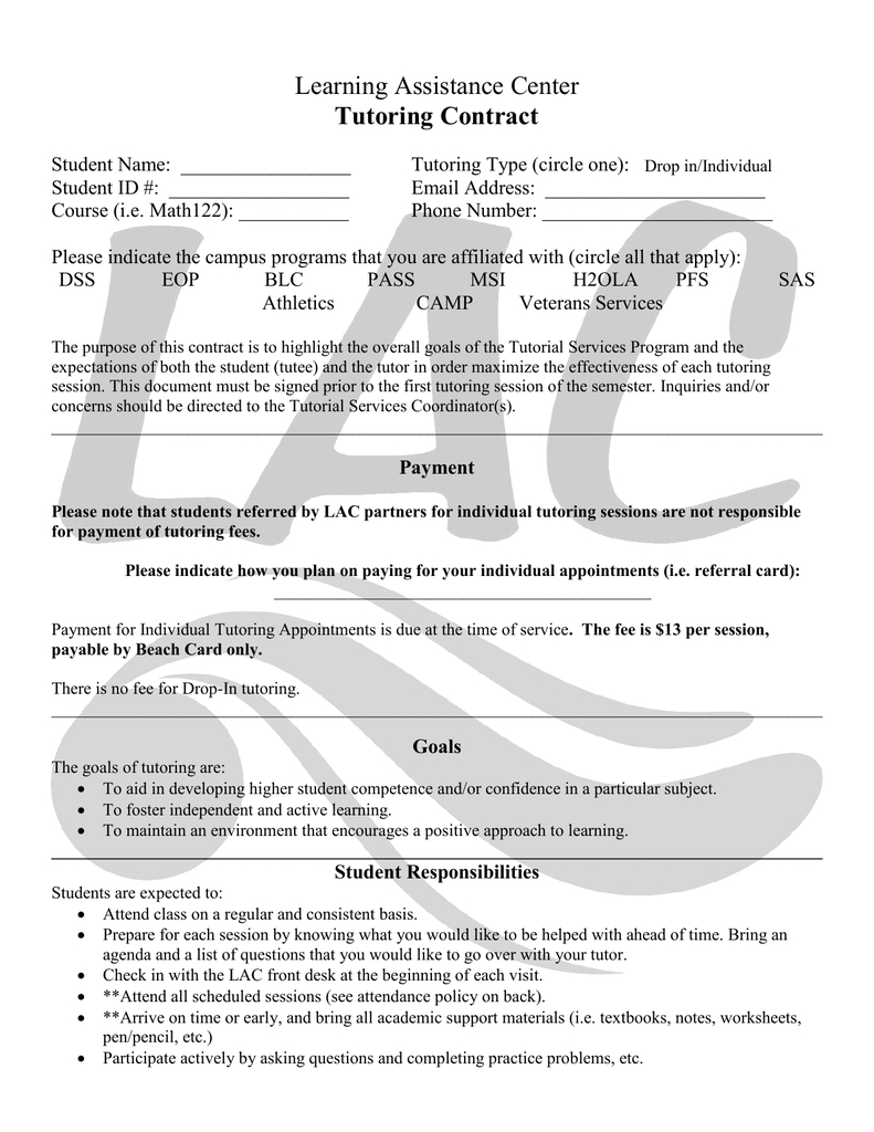 Tutoring Contract  Tutor Session Payment Plan Contract