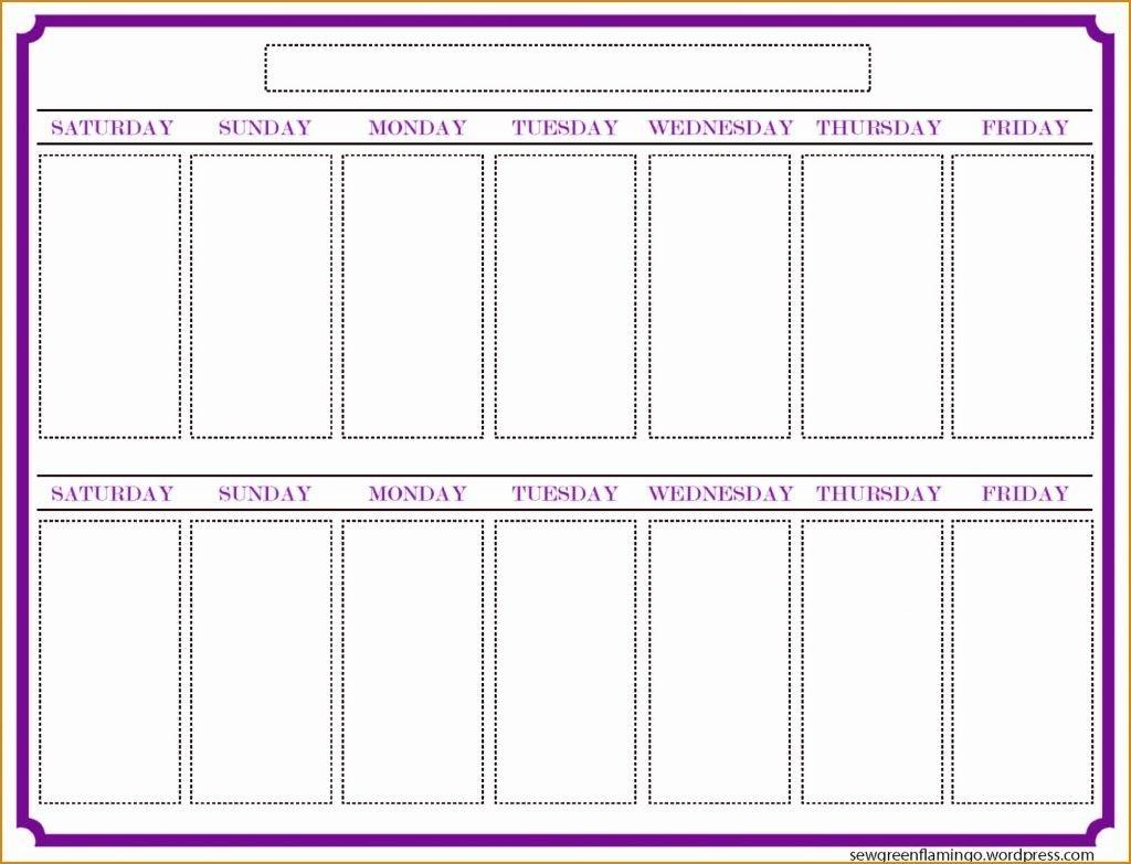 Two Week Schedule Template Weeks Calendar Blank Printable Weekly  Two Week Blank Calendar Template