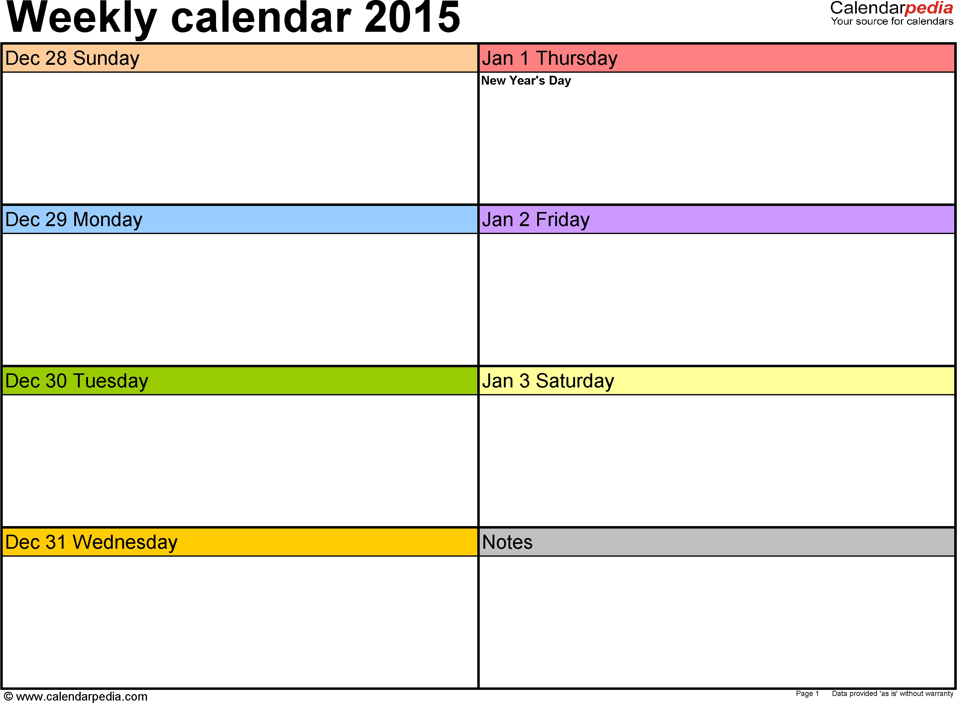 Weekly Calendar 2015 For Pdf - 12 Free Printable Templates  7 Days A Week Planner