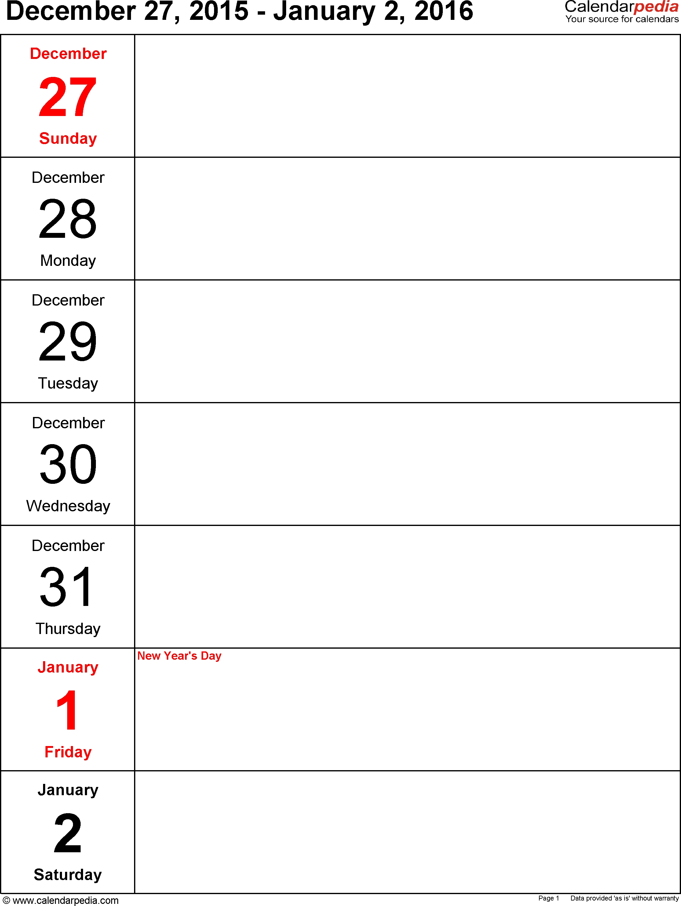 Weekly Calendar 2016 For Pdf - 12 Free Printable Templates  Printable Calendar Day By Day