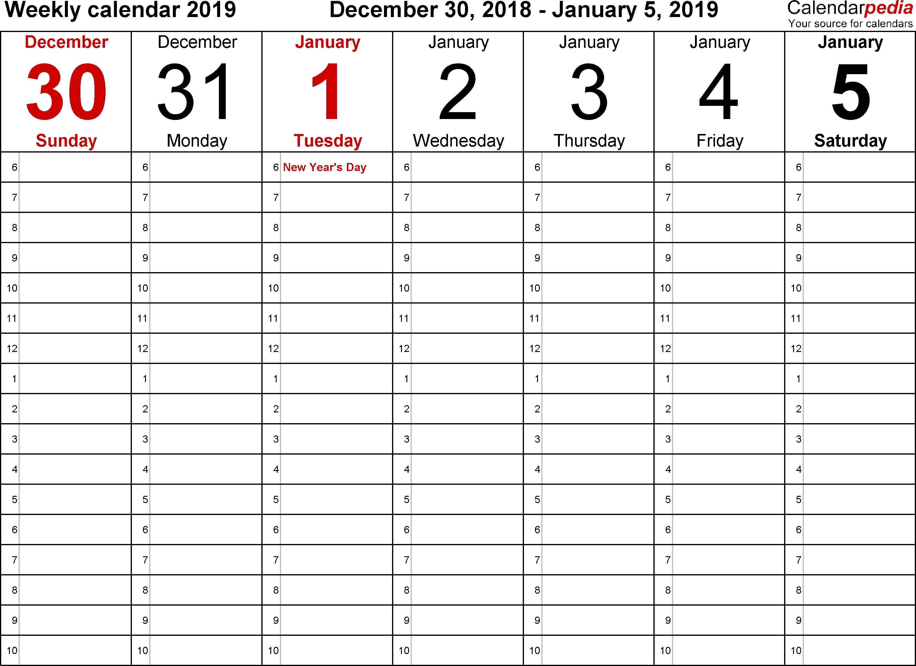 Weekly Calendar 2019 For Pdf - 12 Free Printable Templates  One Week Daily Calendar Printable