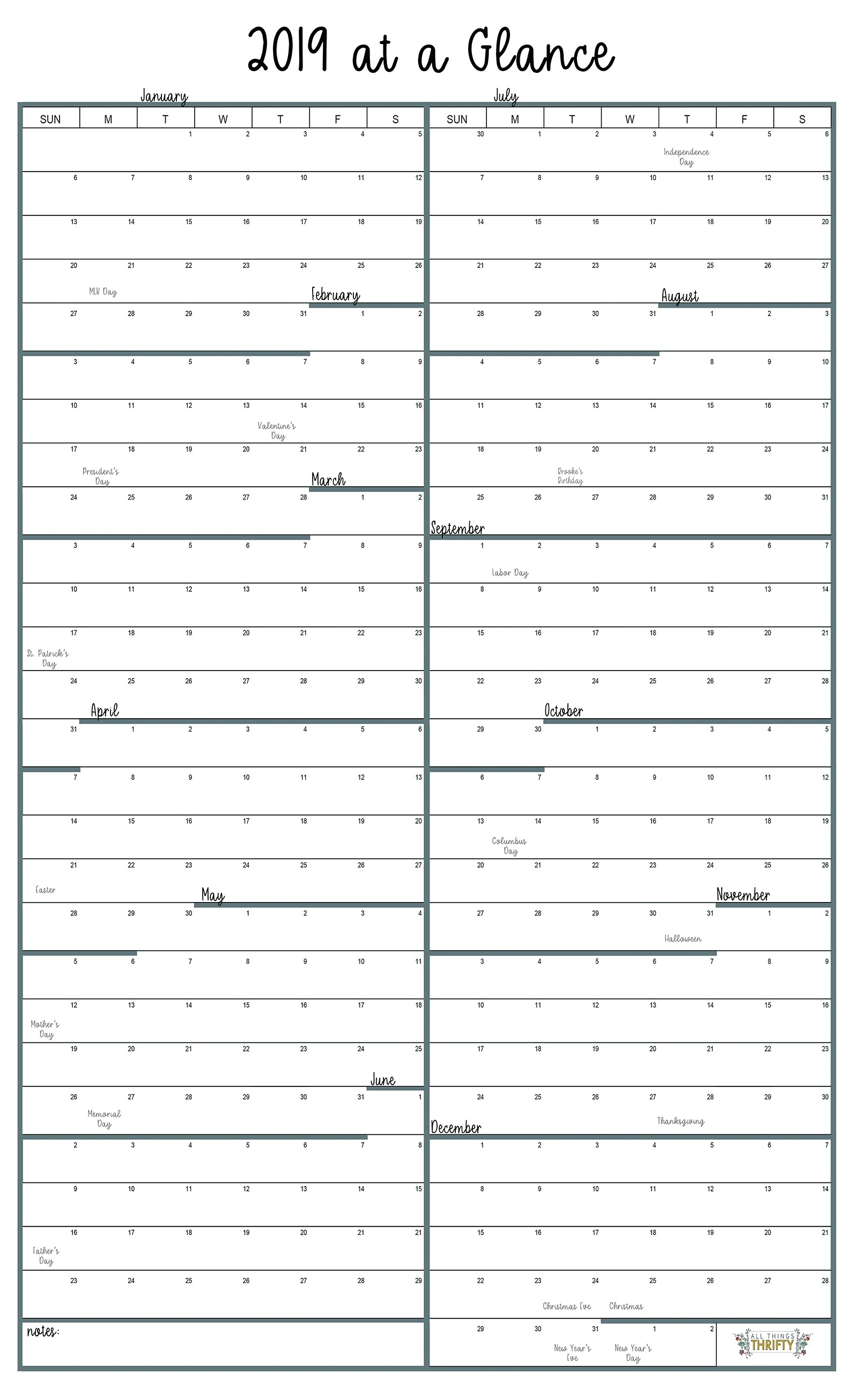 Year At A Glance Free Printable Calendar | All Things Thrifty  Year At A Glance Calendars Printable
