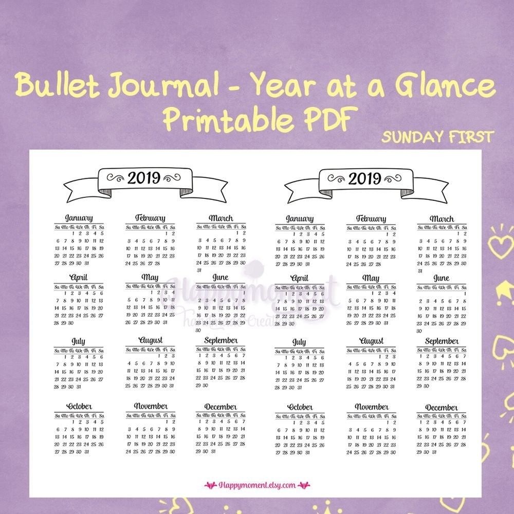 Year At A Glance Printable Calendar 2019 Bullet Journaling 2019 Year  Year At A Glance Calendars Printable