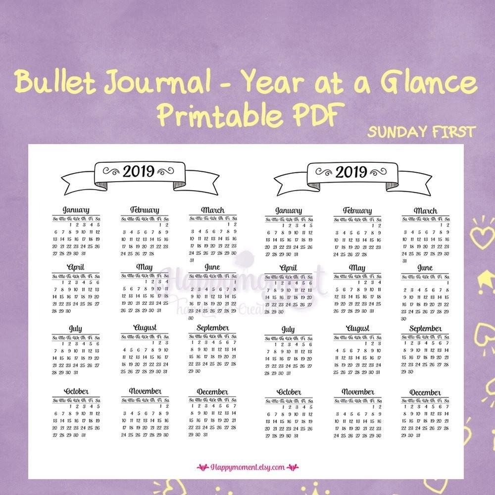 Year At A Glance Printable Calendar 2019 Bullet Journaling 2019 Year  Year At A Glance Calendars Printable