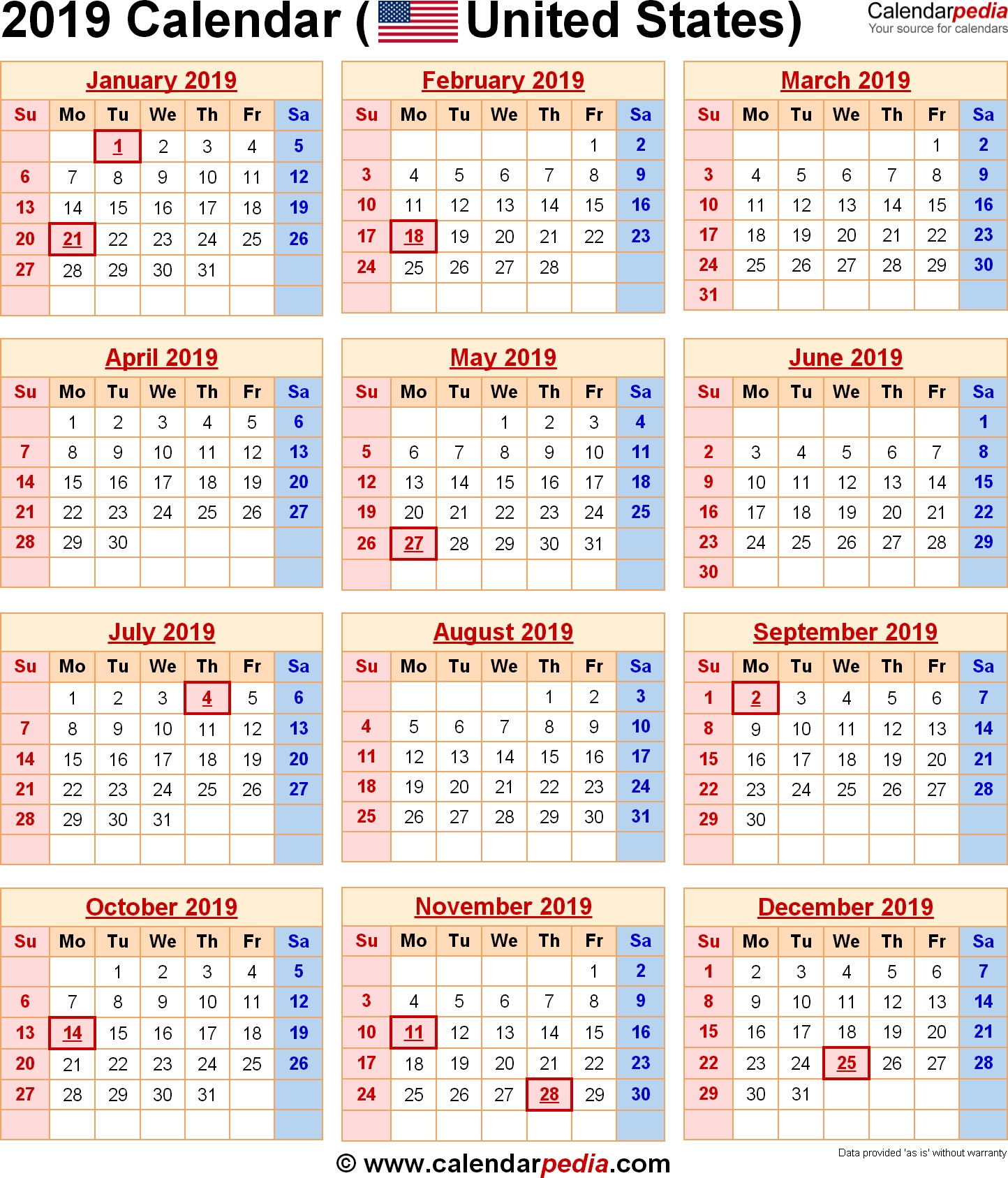 2019 Calendar With Federal Holidays & Excel/pdf/word Templates  Opm Federal Pay Periods 2014