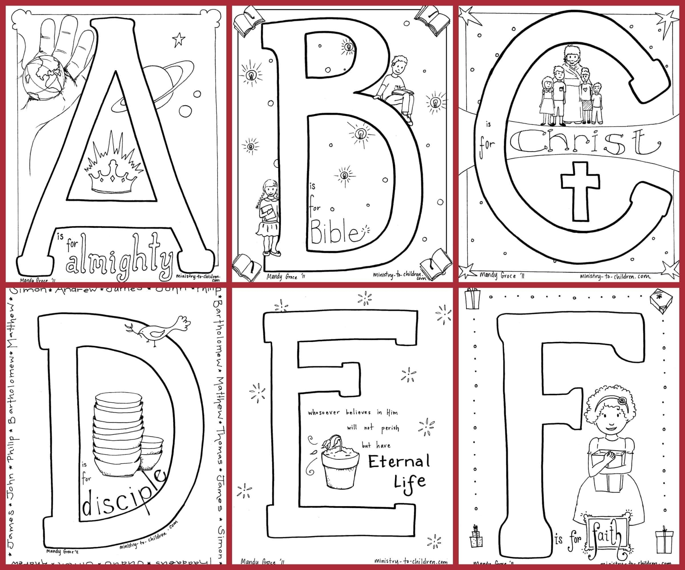 Bible Alphabet Coloring Pages — Ministry-To-Children  Grade R Cover Page Colouring Page