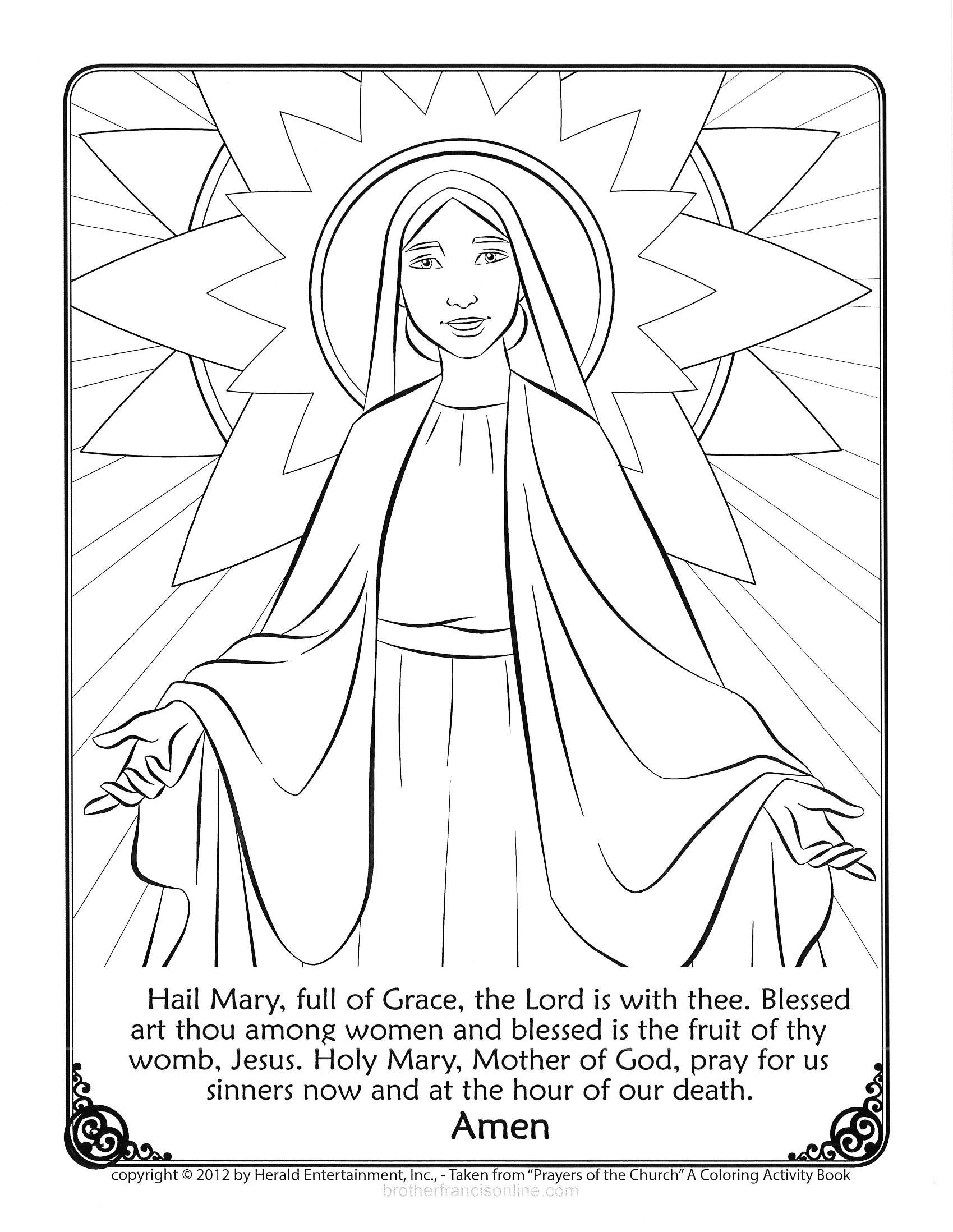 Mary Coloring Page. With The Hail Mary Prayer Printed Below. Color  Grade R Cover Page Colouring Page