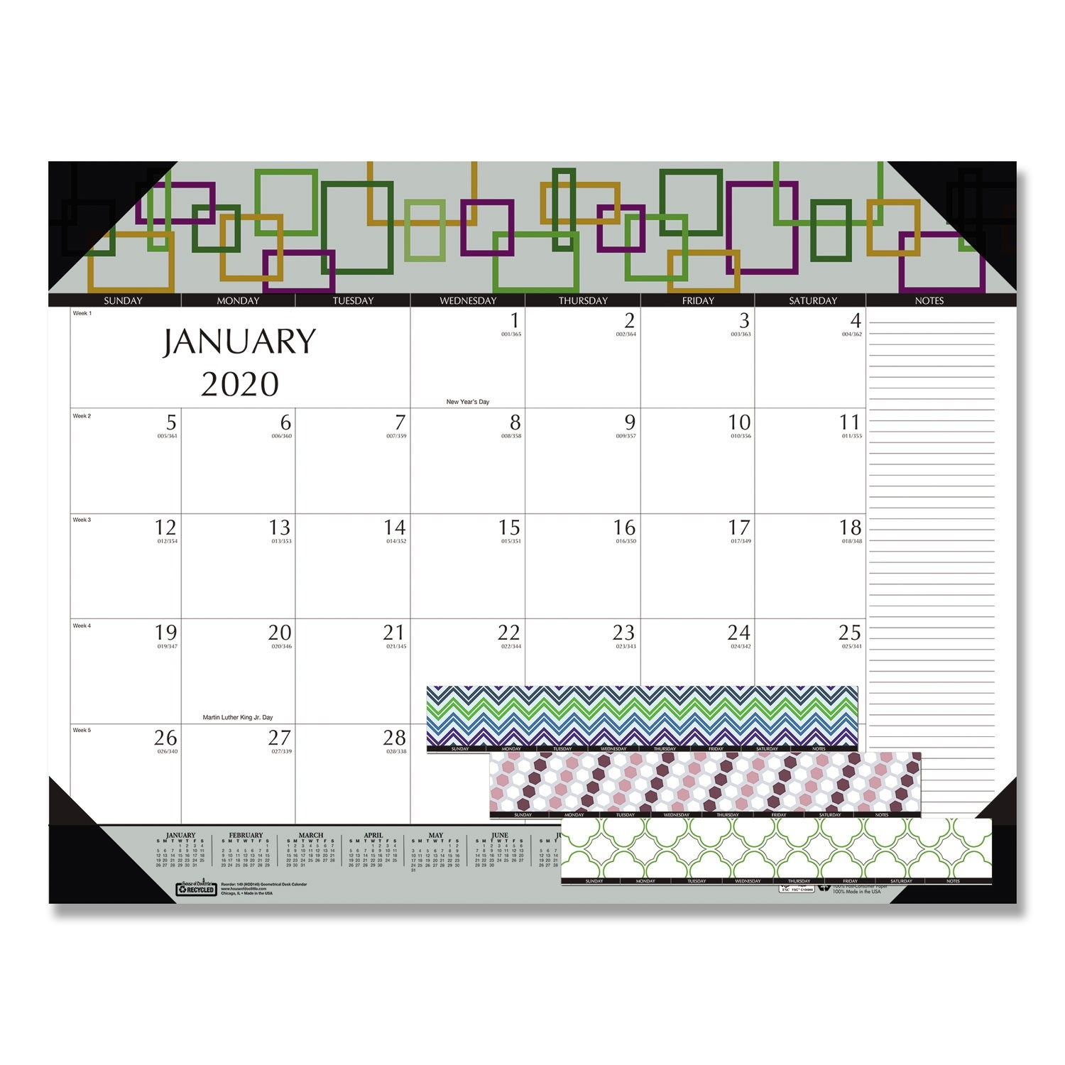100% Recycled Geometric Desk Pad Calendar, 22 X 17, 2020  365 Day Julian Calendar 2020
