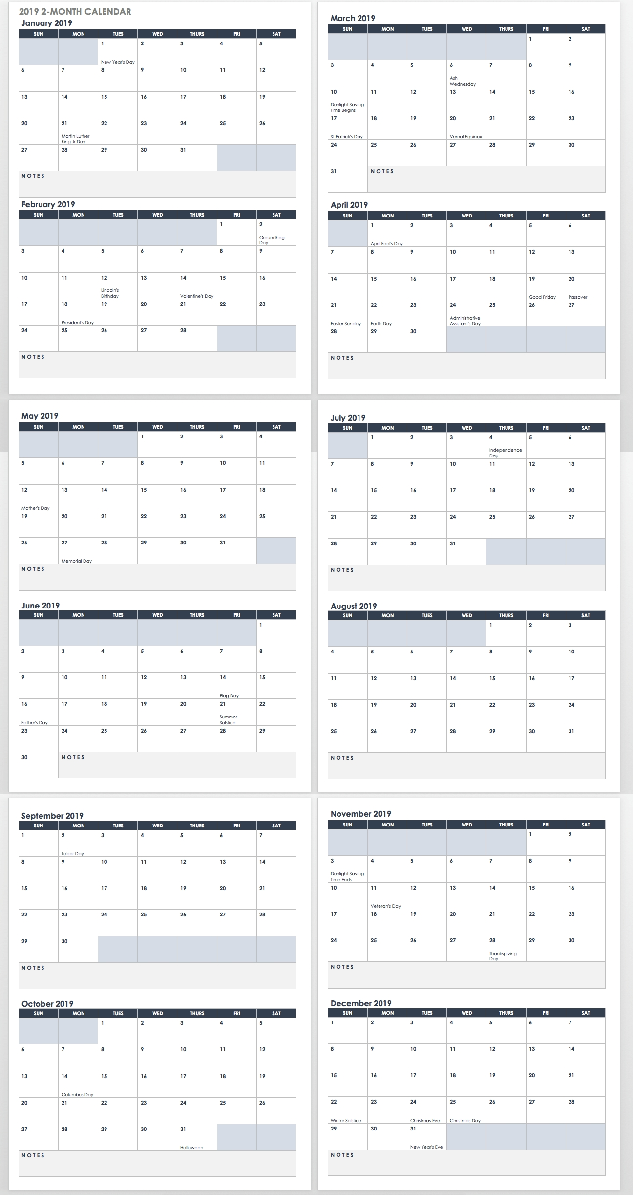15 Free Monthly Calendar Templates | Smartsheet  2020 Calendar With Open Squares