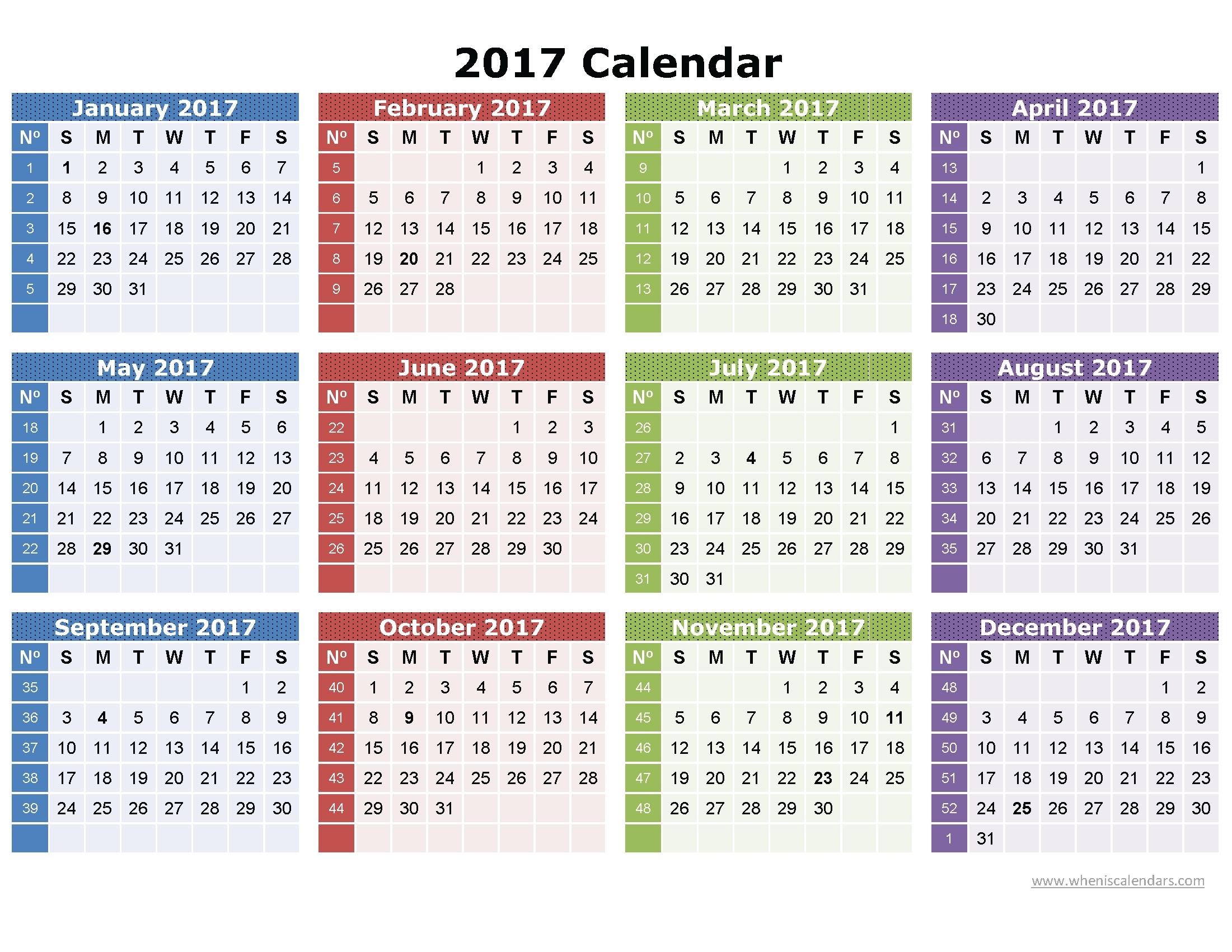 2017 Calendar Printable One Page | Download: Image (Full  Calendar Page Full Page
