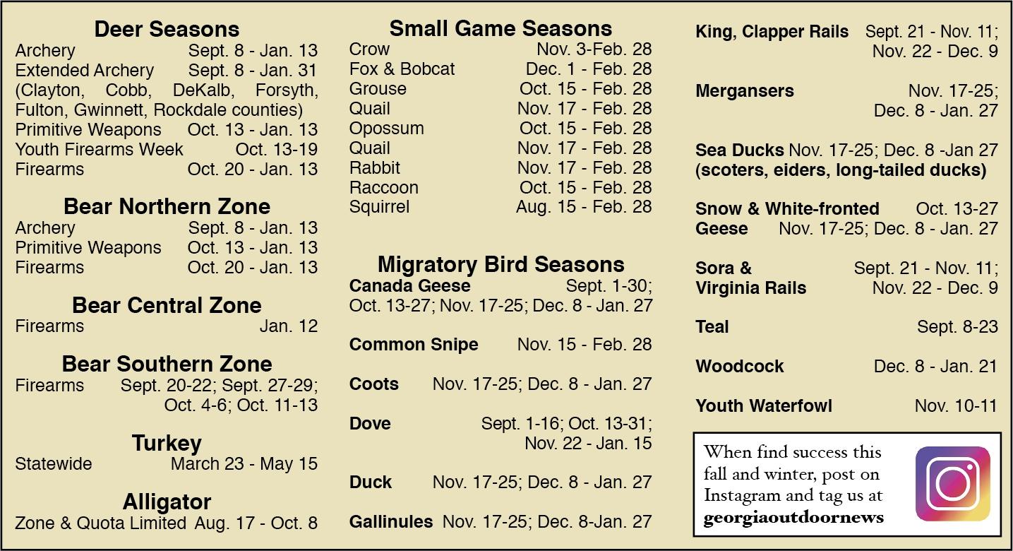 2018-2019 Guide To Ga Hunting Season Dates  Deer Season 2020 Georgia
