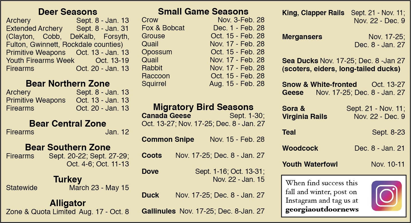 2018-2019 Guide To Ga Hunting Season Dates  Ga Deer Rut Calendar