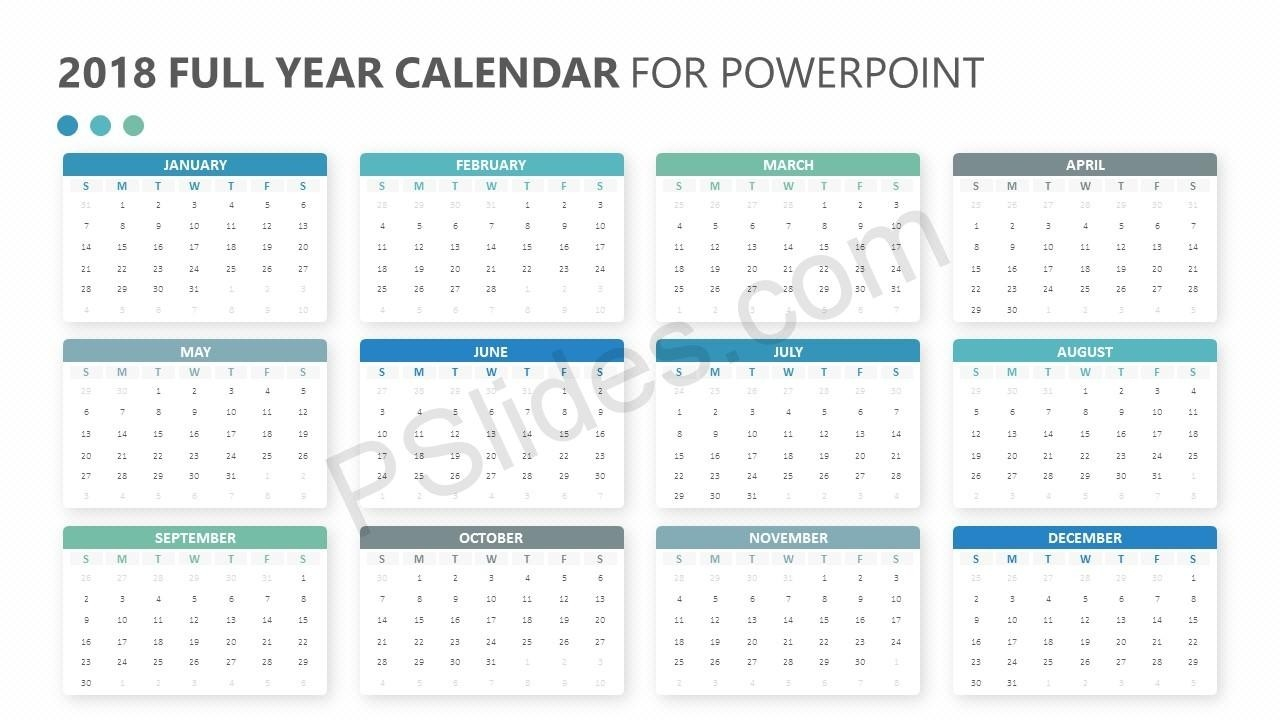 2018 Full Year Calendar For Powerpoint - Pslides  Calendar At A Glance Template Powerpoint