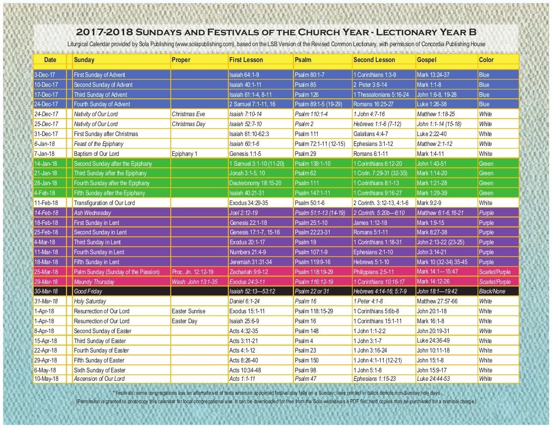 2018 Liturgical Calendar (Year B 2017 2018) K 2018 | Sola  United Methodist Liturgy Calendar